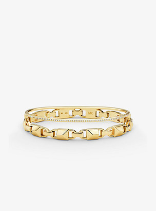 Michael Kors Precious Metal-Plated Sterling Silver Mercer Link Pave Halo Bangle - Gold