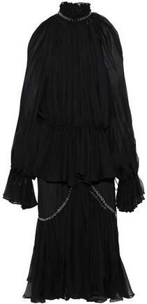 Jonathan Simkhai Cold-Shoulder Eyelet-Embellished Pleated Silk-Chiffon Midi Dress