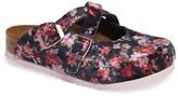 Birkenstock Dorian Velvet Flower Slip-On Mule (Toddler & Little Kid) - Discontinued