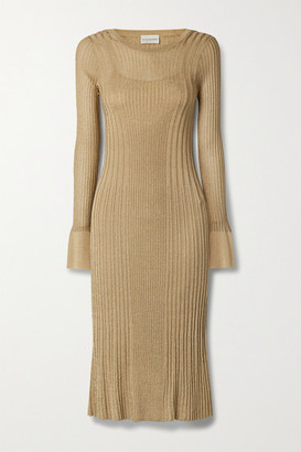 By Malene Birger Ophelias Metallic Ribbed-knit Midi Dress - Gold