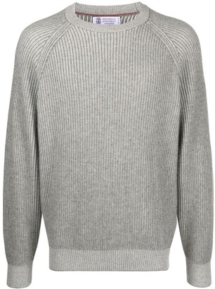 Brunello Cucinelli Crew Neck Ribbed Sweater