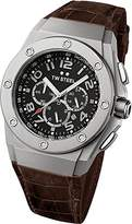 TW Steel Ceo Tech Unisex Quartz Watch with Black Dial Chronograph Display and Brown Leather Strap CE4014