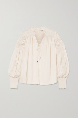 Ulla Johnson Fernanda Shirred Ruffled Crinkled-satin Blouse - Cream