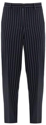 Cobra S.C. - Pinstriped Wool Tapered-leg Trousers - Mens - Black White