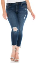 Plus Size Women's Slink Jeans Ripped High/low Ankle Jeans