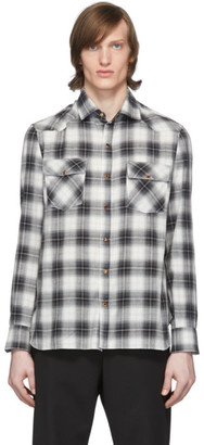 eidos Black and White Plaid Western Shirt