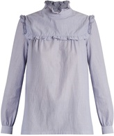 A.P.C. Thea high-neck ruffle-trimmed cotton blouse