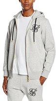 SikSilk Men's Zip Through Logo Hoodie, Grey