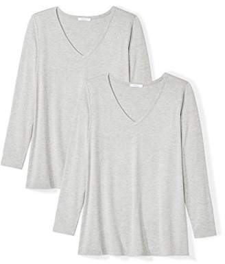 Daily Ritual Plus Size Jersey Long-Sleeve V-Neck T-Shirt, 2-Pack Femme Chemise, Multicolore Light Heather Grey 999)