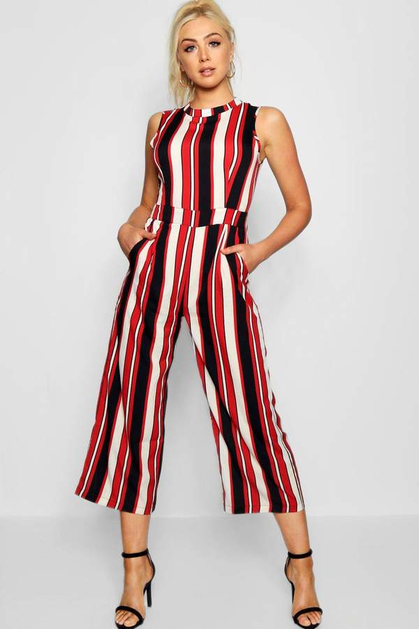 boohoo Red Striped High Neck Culotte Jumpsuit