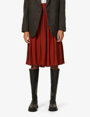 Sessun High-waist crepe midi skirt