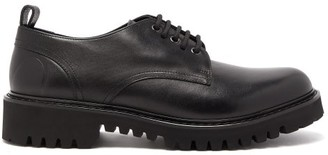 Valentino Logo Debossed Leather Derby Shoes - Mens - Black