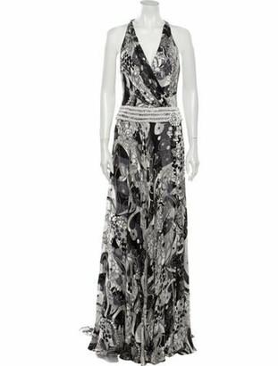 Naeem Khan Silk Long Dress Grey