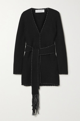 Michael Kors Collection Belted Leather-trimmed Ribbed Cashmere Cardigan - Black