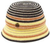 Maison Michel Souna Striped Raffia And Jute Bucket Hat - Womens - Brown Multi
