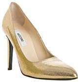 gold crackled leather pumps