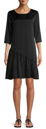 Time and Tru Womens 3/4 Sleeve Asymmetrical Ruffle Dress