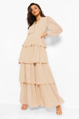 boohoo Polka Dot Ruffle Tiered Maxi Dress