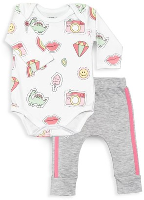 Baby Noomie Baby Girl's 2-Piece Pink Patch Bodysuit & Jogging Pants Set