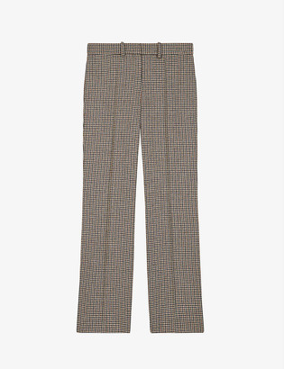 Maje Peling high-rise houndstooth wool-blend trousers