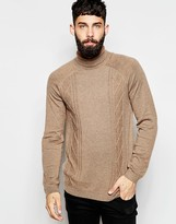 Asos Roll Neck Jumper With Cable In Merino Wool Mix - Brown