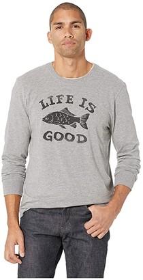Life is Good LIG Fish Crusher Long Sleeve T-Shirt (Heather Gray) Men's T Shirt