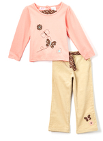Children's Apparel Network Coral Long-Sleeve Tee & Pants - Girls