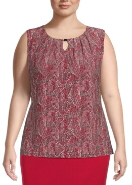 Kasper Plus Size Keyhole Printed Hardware Top