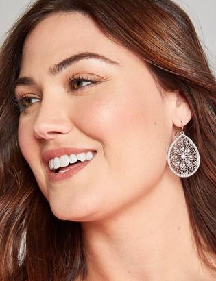 Lane Bryant Pave Filigree Teardrop Earrings