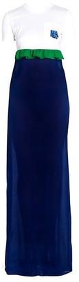 Prada Jersey & Chiffon Logo Maxi Dress