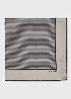 Tom Ford Men's Striped Silk Pocket Square