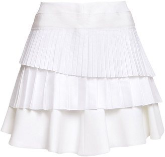 Victoria Victoria Beckham Pleated Layered Poplin, Twill And Cady Mini Skirt