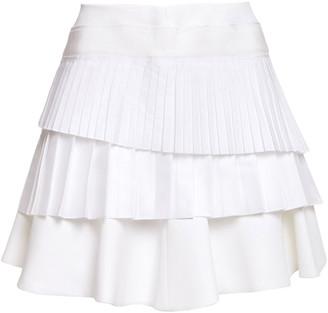 Victoria Victoria Beckham Tiered Pleated Twill, Poplin And Cady Mini Skirt