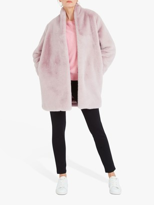 Nrby NRBY Davina Faux Fur Coat, Blush Pink