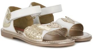 Billieblush Glittered Heart Applique Sandals
