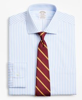 Brooks Brothers Stretch Soho Extra-Slim-Fit Dress Shirt, Non-Iron Twill English Collar Bold Stripe