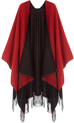 Kollie More Women's Shawls Red - Red & Black Fringe Shawl