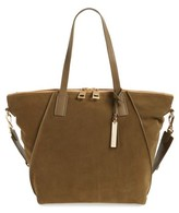 Vince Camuto Alicia Suede & Leather Tote - Green