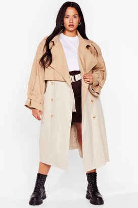 Nasty Gal Womens Back to Mac Oversized Plus Trench Coat - Camel