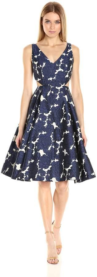 Adrianna Papell Women's Jaquard Deep V-Neck Dress, Navy/Ivory