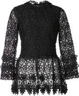 Oscar de la Renta floral lace blouse - women - Silk/Polyester - 14