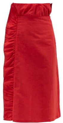 Adriana Degreas Bacio Ruffled Linen Blend Midi Skirt - Womens - Red