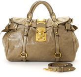Miu Miu Pre-Owned Taupe Calf Leather Bow Bag