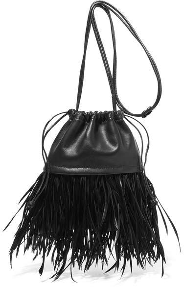 Alexander Wang Ryan Dustbag Mini Feather-embellished Leather Pouch - Black