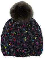 Grevi Melange Beanie Hat w/ Faux-Fur Pompom, Dark Gray