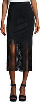 Neiman Marcus Faux-Suede Fringed Skirt, Black