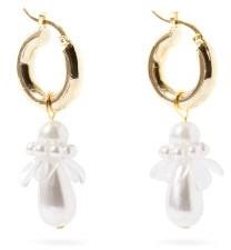 Shrimps Mila Faux-pearl Flower Hoop Earrings - Pearl
