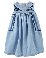Osh Kosh Toddler Girl Embroidered Chambray Dress