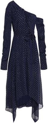 Jonathan Simkhai One-shoulder Twist-front Fil Coupe Georgette Midi Dress
