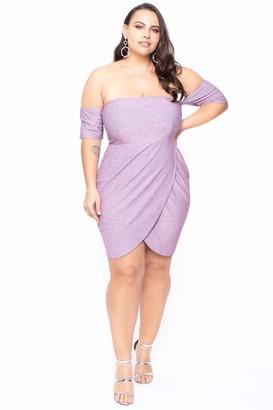 Curvy Sense Vega Off The Shoulder Metallic Dress in Mauve Size 1X